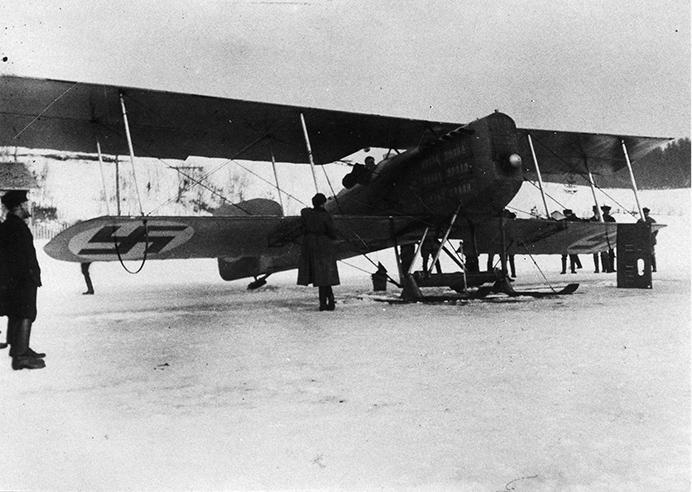 Lentokone Valkjärven jäällä