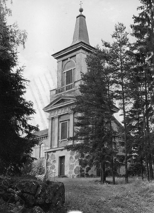 Kosken kirkon kellotapuli 1940-luvulla.