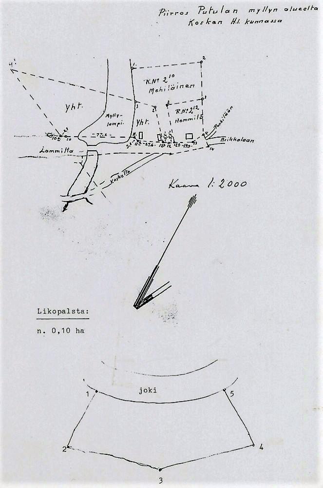 Asemapiirros, Putulan myllyn alue (1:2000)