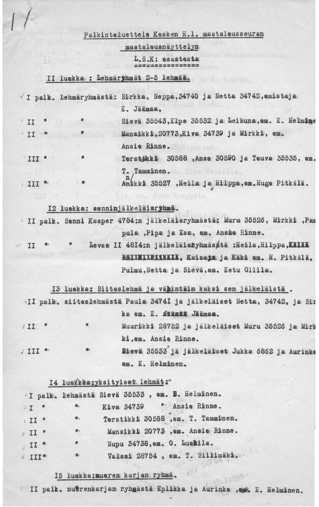 Länsi-Suomen karja palkintoluettelo