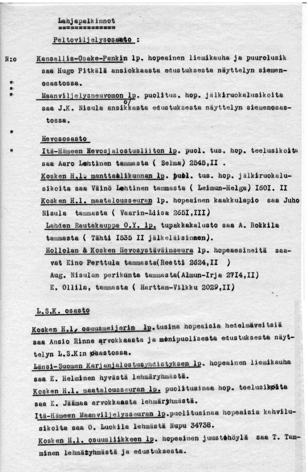 Pöytäkirja palkintoluettelot 25.-26.8.1934