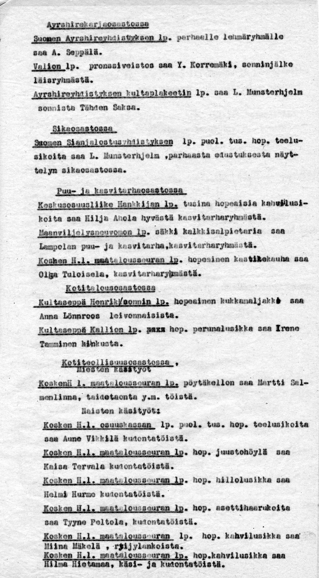 Palkintoluetteloja Maatalousnäyttely 25.-26.8.1934