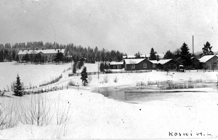 Talvimaisema Teurojoen yli kunnantalon suuntaan