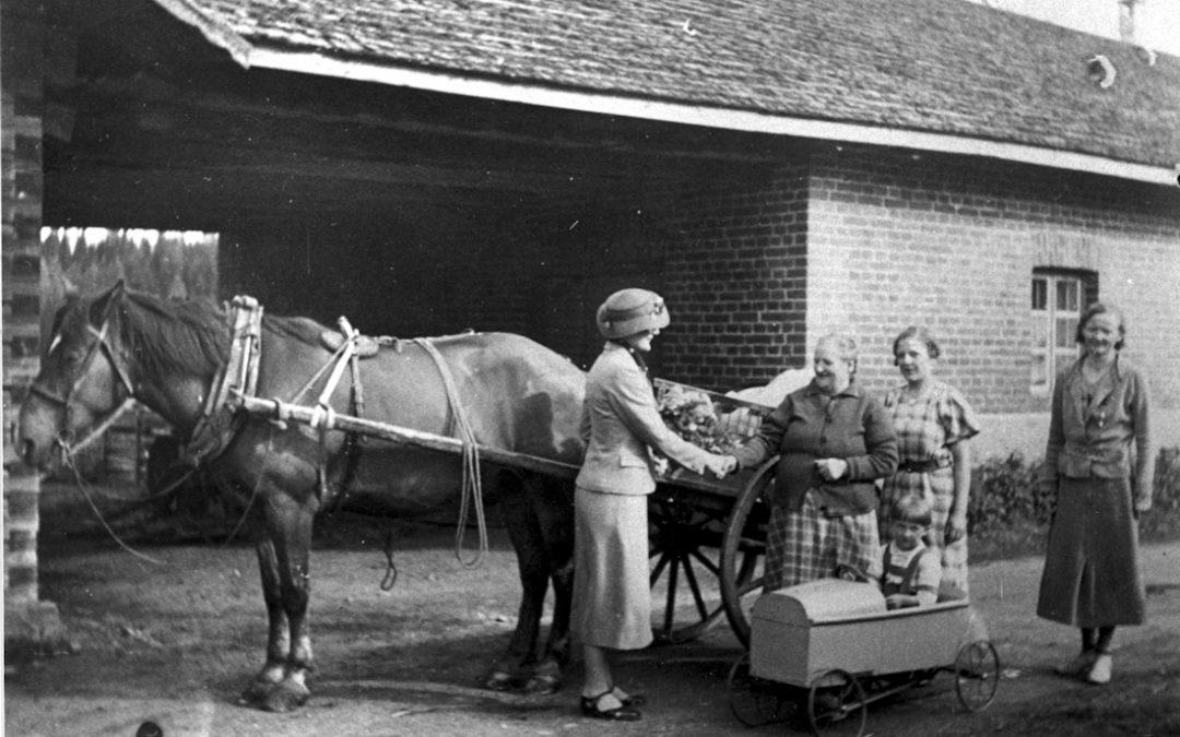 Naisia hevoskiesien vieressä