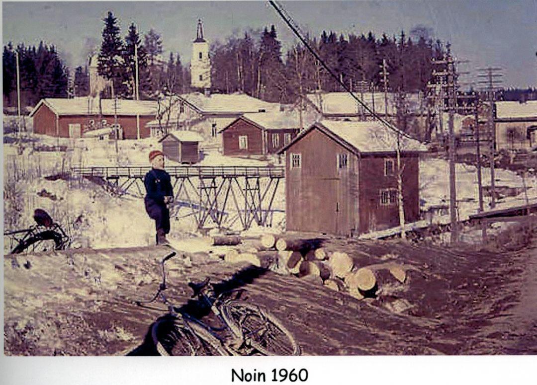 Talvinen näkymä Kosken kylänraitilta 1960-luvulla